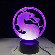 HXFGL 3D Night Light Turn Dragon Table Lamp