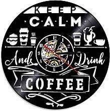 hxjie Classic wall clock with coffee shop logo,