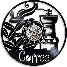 hxjie Coffee vinyl wall clock retro decoration 3d