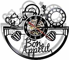hxjie Good Appetite Wall Clock Real Vinyl Record