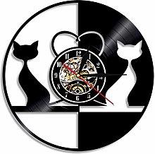 hxjie Vinyl wall clock for cat, cat, kitten,