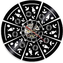 hxjie Vinyl wall clock for pizzas Silent wall