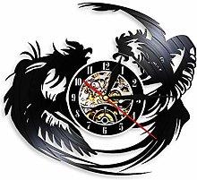 hxjie Vinyl wall clock, rustic vintage design,