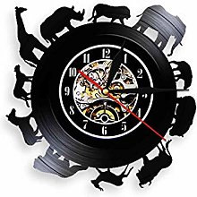 hxjie Vinyl wall clock with African animals,