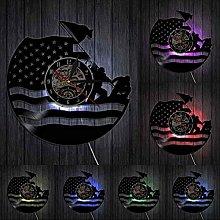 hxjie Vinyl wall clock with American flag, retro,