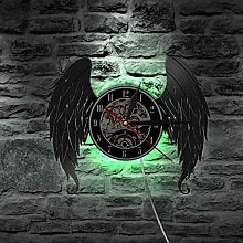 hxjie Vinyl wall clock with angel wings, elegant,