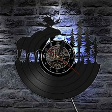hxjie Vinyl wall clock with animals, forest, bull,