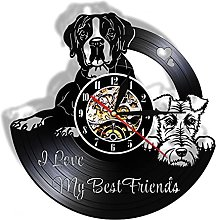 hxjie Vinyl wall clock with boxer and fox terrier,