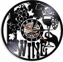 hxjie Vinyl wall clock with wine label, glass