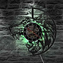 hxjie Vinyl wall clock with wolf head and sharp