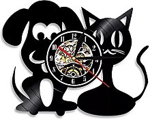 hxjie Wall clock for cats and dogs, vinyl wall