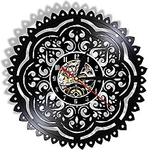 hxjie Wall clock with flower silent quartz clock