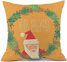 HXOUDAN Christmas Cushion Cover yellow Merry