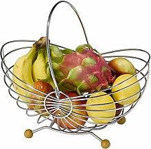 HY-WWK Housewares Wire Fruit Basket, Silver