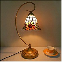 HY-WWK Table Lamp with Stained Glass, Glass Desk