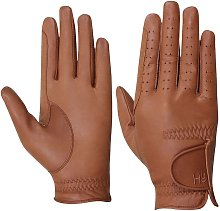 Hy5 Adults Leather Riding Gloves (L) (Light Brown)