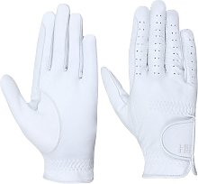 Hy5 Adults Leather Riding Gloves (XS) (White)