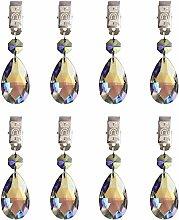 Hyamass 8pcs Metal Clip AB Crystal Glass Teardrop
