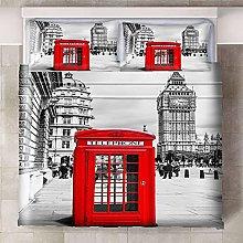 HYBWSO Duvet Cover 3D Bedding White gray red clock