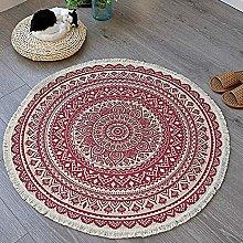 HYISHION Rug for Bedroom, Round Mandala Rug for