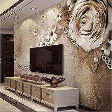 Hyllbb 3D Embossed Flower Hd Photo Wallpaper Mural