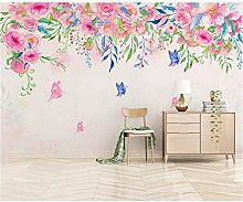 Hyllbb Watercolor Pink Flower Wallpaper Nordic