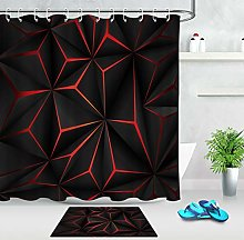 HYTCV Abstract 3D black red pattern shower curtain