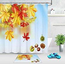 HYTCV Autumn Maple Nuts Red Bathroom Shower
