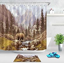 HYTCV Bear forest Digital printing bathroom