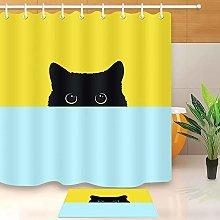 HYTCV Black cat Digital printing bathroom curtain