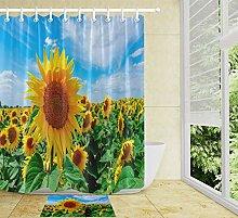 HYTCV Blooming sunflower shower curtain bathroom
