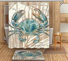 HYTCV Blue crab Digital printing bathroom curtain