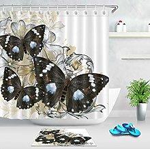 HYTCV butterfly Digital printing bathroom curtain