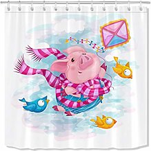 HYTCV Flying dream cute pig shower curtains