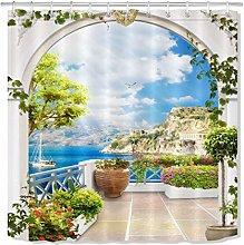 HYTCV Greek flower balcony ocean shower curtain