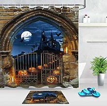 HYTCV Halloween Witch Castle Pumpkin Door Shower