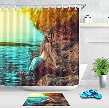 HYTCV Real mermaid Digital printing bathroom