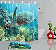 HYTCV Turtle on coral reef Digital printing