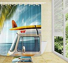 HYTCV Vintage car surfboard at the beach Digital