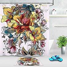 HYTCV Watercolor flower Digital printing bathroom
