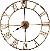HZDHCLH Wall Clocks 16 Inch Gold Roman Retro Gear