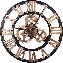 HZDHCLH Wall Clocks 24 Inch Silent Roman Retro