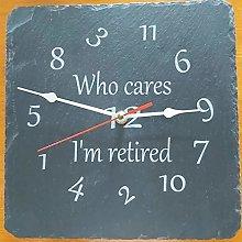 i'm retired slate etched clock retirement