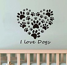 I Love Dog Paw Heart Wall Stickers Living Room