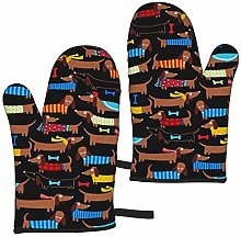 I Love My Dog Dachshunds Oven Mitts,Heat Resistant