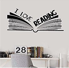 I Love Reading Text Wall Stickers Book Bookstore