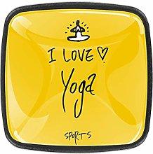 I Love Yoga Yellow Square Cabinet Knobs 4pcs Knobs
