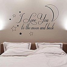 I Love You Moon and Back View Vinyl Wall Sticker