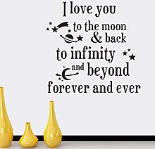 I Love You to The Moon Back Quote Wall Stickers