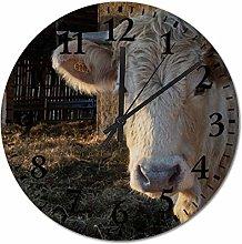 ian huan88 12 Inch Wooden Wall Clock, Cow Non